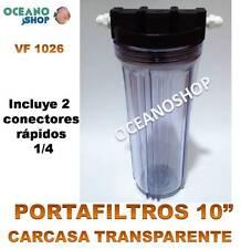 """PORTA FILTRO CARTUCHO OSMOSIS INVERSA 10"""" TRANSPARENTE CARCASA Y CONECTORES 1/4"""