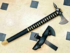 MDM VIKING STYLE, TOMAHAWK SPIKE AXE, LEATHER WRAPPED ASH WOOD HANDLE