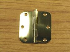 "Polished Solid Bright Brass 3 1/2"" Door Hinges 5/8"" rad"