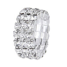 3 x Elastic Toe Ring Bridal Jewelry 3-Row Rhinestone 9mm---Silver T8L5