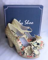 New Ruby Shoo Tanya Beige Flower Mary Jane Strap Ladies High Heel Shoes Box Sz 4