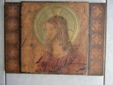 ancien sous main religieux,cuir, decor peint main ,christ