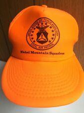 Vintage Trucker Hat Cap US Air Force Aux Nickel Mt Orange One Size Snap Back