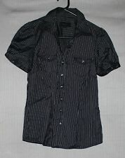 NEW Padini Women's black short sleeve button down shirt with white strips SIZE M
