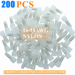 200 PCS 16-14 AWG NYLON CRIMP CLOSED END CAPS CONNECTOR ALARM WIRE CE2
