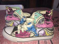 AIRWALK ~  Womens Pink Blue Shoes Design Sneakers High Tops Skater Punk ~ 6