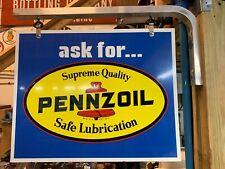 """Pennzoil Motor Oil Metal Sign Gasoline Gas, New Old Stock- Two Sided - 22.5""""X18"""""""