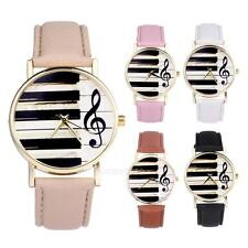 Women Ladies Girl Piano Music Leather Band Analog Quartz Wrist Watch Fashion New