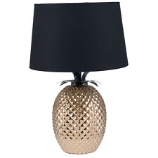 Gold Pineapple Table Lamp with Black Shade H: 44cm Unique and Beautiful