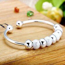 Women Fashion Jewelry 925 Silver Plated Beads Adjustable Cuff Bracelet 18-7