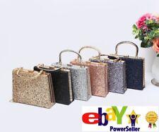 Xmas Ladies Glitter  Evening Clutch Bag Womens Wedding Party Hard Case Handbag