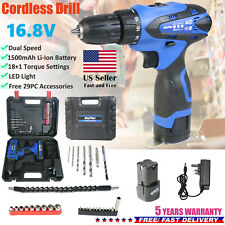 16.8V LED Cordless Electric Power Drill 29PC Kit Household Driver Li-Ion Battery