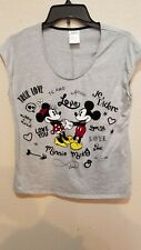 Disney Store Gray Cap-sleeve T-Shirt tee Size L Mickey & Minnie Love