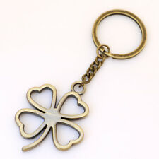Retro Four-Leaf Clover Lucky Grass Keychain Keyring Metal Pendant Creative Gift