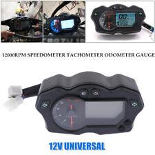 LCD Digital Motorcycle 12000RPM Speedometer Tachometer Odometer Gauge Universal