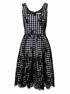 REVIEW Rockabilly Baby Gingham Check Floral Mesh Fit And Flare Dress Size 16