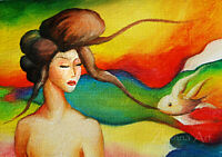 Original ART ACEO oil PAINTING fantasy women & fish colorfull miniature