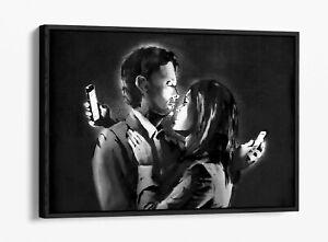 BANKSY MOBILE LOVERS FLOAT EFFECT CANVAS WALL ART PIC PRINT GRAFFITI- GREY WHITE