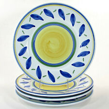 """New listing Williams-Sonoma Tournesol 11-1/4"""" Dinner Plate Set 4Pc Italy Blue Green"""