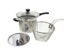 3.5 QT Multipot Fryer Fry Basket Boiler Steamer Stainless Steel 4 Piece Pot
