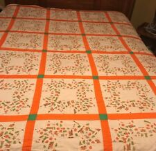 Hand Sewn Regular size Orange White With Trains And Farm Equipment