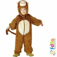 KIDS BROWN FURRY MONKEY JUMPSUIT ONESIE age 4-6 boys childs fancy dress costume