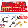 24Pcs/Set Cosplay Fairy Tail Lucy Anime Keys Necklace Pendant Keychain+Box Gift