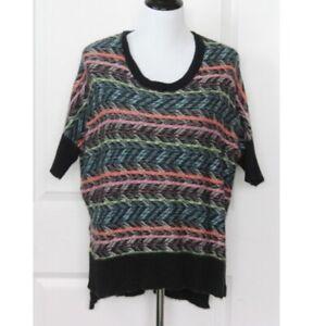 BCBGMAXAZRIA Tunic Sweater XXS Brinkley Dolman Short Sleeve Multicolor Pullover
