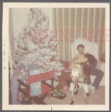 Vintage Photo Man w/ Pony Horse Toy & White Christmas Tree 761661