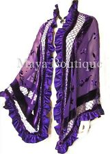 Purple Shawl Scarf Wrap Silk Burnout Velvet Bead Triangle Ruffles Maya Matazaro