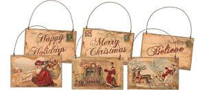 Set of 3 Retro Vintage Santa Postcard Tree Ornaments Primitives By Kathy