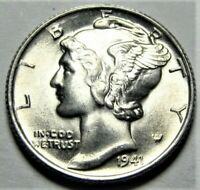 1941 S Mercury Dime Brilliant Uncirculated 90% Silver Coin Gem BU FB