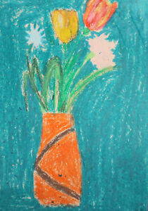 Vintage expressionist pastel painting still life with flowers