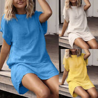Plus Size Women Short Sleeve Mini Dress Ladies Summer Tunic Dress T-Shirt Dress