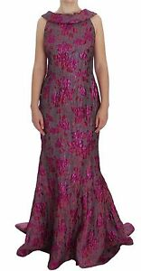 DOLCE & GABBANA Dress Pink Floral Brocade Sheath Gown IT44 / US10/ L