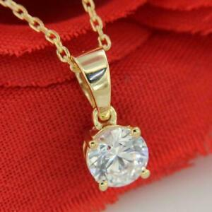 2Ct Round Cut D/VVS1 Diamond Solitaire Pendant Free Chain 14K Yellow Gold Over
