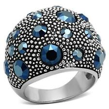 Montana Blue Crystal Wide Band Dome Bubble Stainless Steel Cocktail Cluster Ring