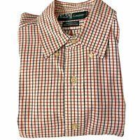 Vintage Ralph Lauren Yarmouth Mens 15 5 X 32 33 Oxford Shirt Red Blue Plaid