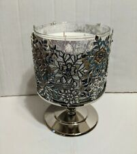 Bath & Body Works Jeweled Snowflakes Pedestal 3 Wick Candle Holder NEW