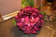 Large Plum Faux Silk Hydrangea, Individual Purple Artificial Flower
