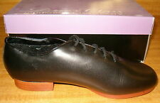 Womens 5.5 Black Leather Jazz Tap Clogging Irish Dance Oxford shoes NIB!