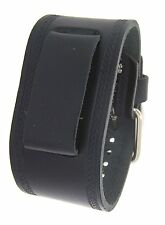Nemesis HST-K Wide Black Leather Cuff Wrist Watch Band