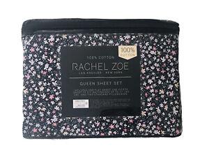 Rachel Zoe 4pc 100% Cotton - Queen Sheet Set Black Floral Shabby Chic Cottage