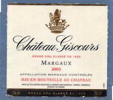 MARGAUX VIEILLE ETIQUETTE CHATEAU GISCOURS 2003 75 CL §04/07/18§