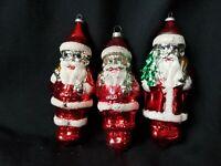 3 Vintage Blue Eyed Santa Christmas Tree Ornaments Mercury Glass W Germany