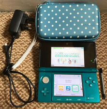 *Nintendo 3DS: Aqua Blue Handheld Console with Stylus, Charger & Case*