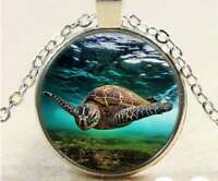 """TURTLE OCEAN NAUTICAL SEA  charm pendant 20"""" Sterling Silver necklace Gold Gift"""