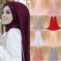 Women Scarfs Wrap Muslim Hijab Neck Scarf Gold Glitter String Wrinkled Veil