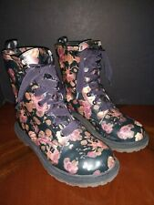 Arizona Jeans Women's Lace Up Rubber Boots Black / Pink Floral Size 7.5
