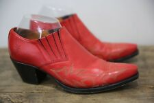 Frye Women's Red Leather Stitched Ankle Boots Country Western 8 M
